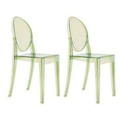 Green Philippe Starck Ghost Chairs - A Pair - Chairish