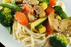 Low Calorie Pasta Primavera made with low fat Greek Yogurt