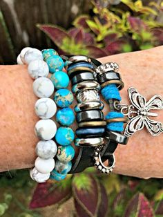 Butterfly Gemstone Bracelet Stack Stretch Bracelets, Beaded Bracelets, Jasper, Turquoise Bracelet, Butterfly, Gemstones, Leather, Handmade, Stuff To Buy