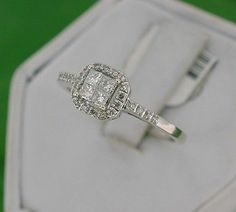 Beautiful Solid 14kt White Gold Princess Cluster Diamond Halo Ring Size 6 75   eBay