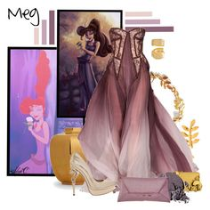 """Meg - Formal - Disney's Hercules"" by rubytyra ❤ liked on Polyvore featuring Gorjana, AERIN, Too Faced Cosmetics, Stila, Roberto Cavalli and VPL"