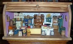 Miniature General Store Dollhouse Full in Vintage Rolltop Wood Bread Box #Unbranded