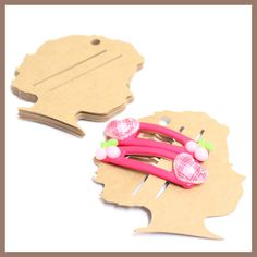 100 Hair Pin or Clip Display Cards - KRAFT 205gsm
