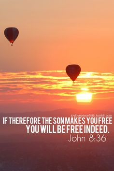 """If therefore the SON makes you free; you will be free indeed.""(John 8:36)."
