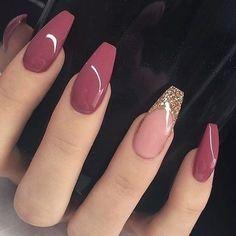 Nageldesign - Nail Art - Nagellack - Nail Polish - Nailart - Nails Katja Wedding List - Why Is It On Pink Nail Designs, Acrylic Nail Designs, Nail Designs With Glitter, Acrylic Art, French Manicure With Glitter, Best Nail Designs, Coffin Nails Designs Summer, Burgundy Nail Designs, Bling Nails