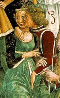 Francesco del Cossa - Allegoria di Aprile: Trionfo di Venere, dettaglio - affresco - 1468-1470 ca. - Salone dei Mesi, Palazzo Schifanoia, Ferrara (Italia)