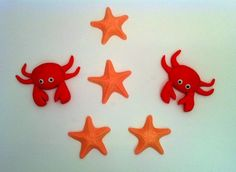 12 Fondant crab decorations for cupcakes as toppers by craftyrosy, $28.00
