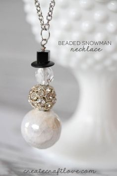 Beaded Snowman Necklace at createcraftlove.com