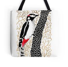 """Woodpecker, forest bird, watercolor & ink sketch"" Tote Bags by ptitsa-tsatsa 