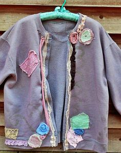 Grungy Raggy Upcycled Sweatshirt Jacket One of a Kind Ready to Ship