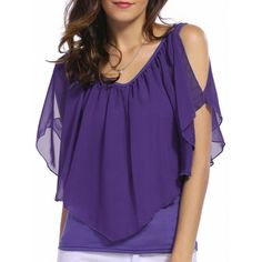 $7.22 V Neck Cold Shoulder Overlay Chiffon Blouse - Purple