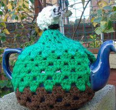 crochet tea cosy with sheep