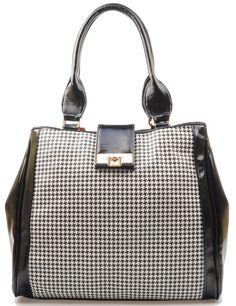 Monnari - duża, pojemna torba damska. Stylowy retro design.  Na przodzie torby modny deseń w pepitkę.