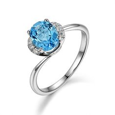 l&zuan 925 sterling silver Natural 1.52ct Topaz Star Prong Setting Blue Stone Ring Jewelry For Women  Gift
