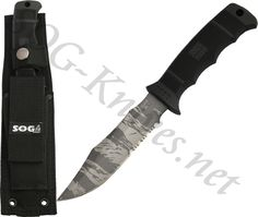 SOG SEAL Pup TigerStripe Knife w/ Nylon Sheath M37T - $53.55