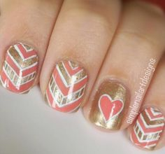 Golden peachy valentine's day nails- or for any day! these don't seem like just v-day nails