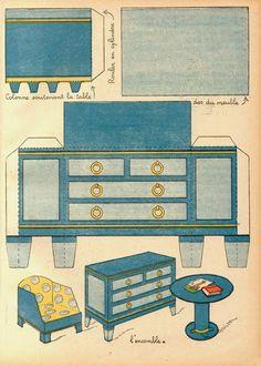 Vintage printable :: salon moderne paper furniture page 2 of 2 Cardboard Furniture, Barbie Furniture, Dollhouse Furniture, Paper Doll House, Paper Houses, Diy Dollhouse, Dollhouse Miniatures, Vintage Paper Dolls, Paper Toys