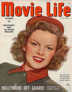 Judy Garland on the cover of Movie Life magazine, December 1944, USA.