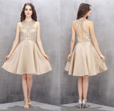 Beading Homecoming Dresses,Short Homecoming Dresses,Champagne Homecoming Dresses,A-line Prom Gown,Short Party Dresses,Beading dress
