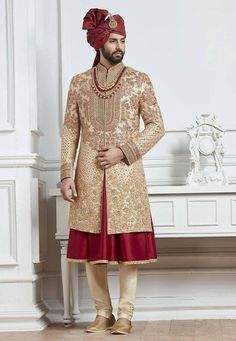 Shop Beige and red raw silk groom indo western sherwani online from India. Indian Wedding Pictures, Indian Wedding Poses, Wedding Dresses Men Indian, Wedding Outfits For Groom, Groom Wedding Dress, Indian Wedding Photography, Wedding Girl, Wedding Suits, Girl Photography