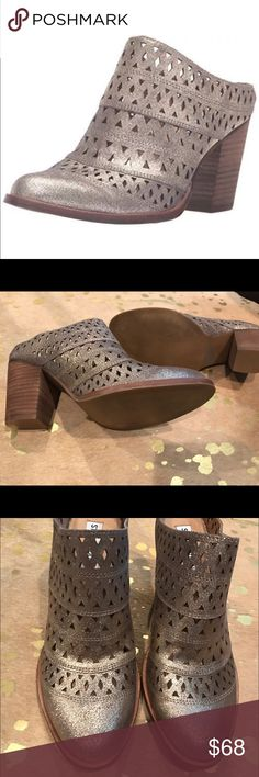 "New w/out Box Steve Madden Harmony Mule Dusty Gold Perforated leather upper. Easy slip-on design. Round Toe. Man-made lining. Lightly padded footbed. Stacked block heel. Synthetic outsole. 3"" heel Size 7.5  New without box, never worn  Harmony is a great transitional shoe to ease you into the cooler temps. this high stacked heel slip-on with back cut out and chop out vamp details will satisfy your any-season transitional needs as both an ankle bootie and mule. wear with skirts and dresses to…"