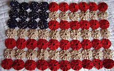 ~ Americana Primitive Patriiot Yo Yo Flag Kit ~ by cottagegardenquilts - Our Daughter-in-law made one for us in  varigated red, white & blue tones....Beautiful....