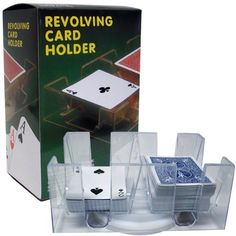Revolving Playing Card Tray/Holder For 6 Decks by CHH Toy Products. $5.82. Revolving Playing Card Tray/Holder For 6 DecksRevolving Card Holder For Six DecksThis card tray will hold up to 6 decks of cards!has a gentle turning swivel baseThe perfect companion for card players who want to keep their stack neat.7 x 3 x 4.8 inches ; 1.5 pounds2 pounds
