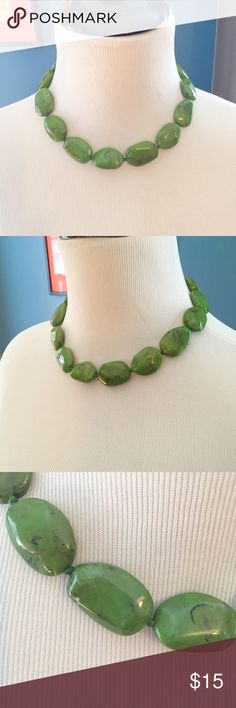 """Jade-colored Beaded Choker Large Jade-colored beaded choker necklace featuring a lobster clasp. Adjustable 15.5""""-18.5"""". Jewelry Necklaces"""