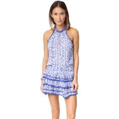 Poupette St Barth Eva Mini Dress (430 CAD) ❤ liked on Polyvore featuring dresses, blue button, mini dress, print dresses, tiered dresses, halter-neck tops and frilly dresses