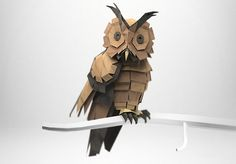 3D origami style owl, made by Jeremy Kool.