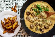 Švédské masové kuličky se smetanovou omáčkou | KořeníŽivota.cz Iron Pan, Ale, Food And Drink, Cooking Recipes, Meat, Chicken, Kitchen, Hampers, Food