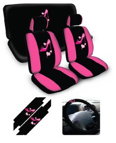 Pink High Heel Shoe Car Seat Cover Set www.CarDecor.com