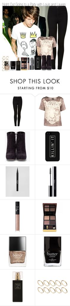 """Night Out Going to a Party with Louis and Lauren"" by elise-22 ❤ liked on Polyvore featuring Topshop, Alejandro Ingelmo, LG, Stila, shu uemura, NARS Cosmetics, Tom Ford, Butter London, Jack Black and Robert Piguet"