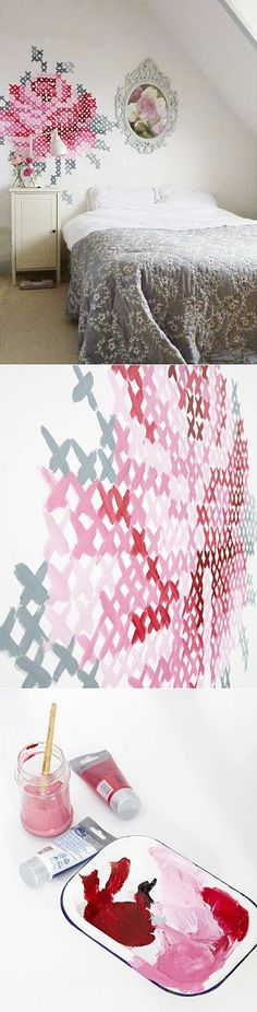 "This Flower wall art DIY project redefines the ""paint by number"" I used to do as a child. How cute and easy to do is this ""faux crossed stitch"" project? In order to get the design and proportions right, either use a projector to display the design onto the wall or have the design printed on large format paper or on 8""x 10"" sheets assembled in a grid pattern."