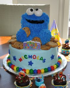 Cookie Monster First Birthday Cake  on Cake Central