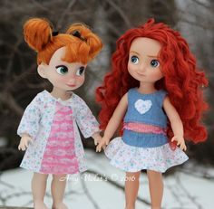 2 outfits I sewed for my Disney Animator dolls.  Both from #OhSewKat patterns…