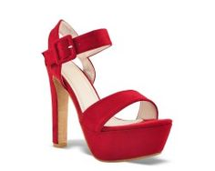 30€ Ankle strap with covered buckle and platform slingback pattern, red color. Visit our website now!