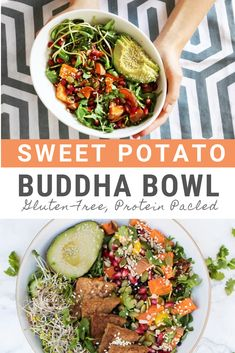 Made with sweet potato pomegranate fresh greens and lemon. Add quinoa, chickpeas or avocado to make a nourishing buddha bowl. Vegan Bowl Recipes, Best Salad Recipes, Meat Recipes, Meat Meals, Healthy Recipes, Vegan Food, Healthy Meals, Healthy Food, Easy Vegan Lunch