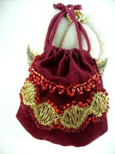 Handmade Doll Purse Antique Style Burgundy by stbthreadworks, $18.00
