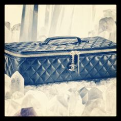 #Chanel 2.3K black quilted lambskin large jewelry box