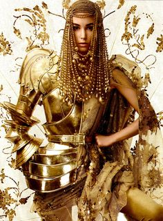 John Galliano body armour for Christian Dior Haute Couture, Fall Winter 2006 Dior Haute Couture, Couture Fashion, Christian Dior, Halloween Karneval, Gold Everything, Or Noir, Color Plata, Shades Of Gold, Vintage Dior