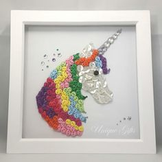 Unicorn Button Art Rainbow Unicorn Magical Unicorn Framed