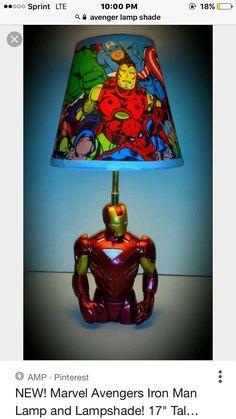 Iron Man lampshade and lamp Marvel Boys Bedroom, Marvel Nursery, Boys Bedroom Decor, Small Room Bedroom, Bedroom Ideas, Avengers Room, Baby Avengers, Marvel Avengers, Boys Football Room