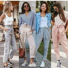 Bow pants and high waisted pants styling ideas High waisted pants are on the rise this fall season and they are definitely not fading away any time soon. Build up your own collection of high waisted tie knot Casual Work Outfits, Classy Outfits, Stylish Outfits, Summer Outfits, Cute Outfits, Fashion Outfits, Looks Camisa Jeans, Pants For Women, Clothes For Women