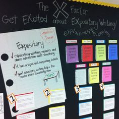 Expository Writing bulletin board created by Elliott 4th grade teachers and Danna:) kid friendly rubric and student writing samples on display!!