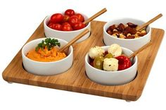 Four Bowls Bamboo Serving Tray Set :http://www.foryourchef.com/product/four-bowls-bamboo-serving-tray-set/