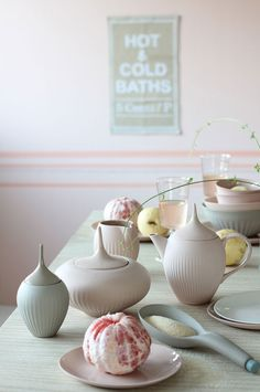 How incredible is this setting? Such cute bowls and tea lots straight from Wonderland — pastel pinks, light mint greens, and little touches of lemon yellow are so cute for a dining room / Beautiful Pastel and Ceramic Inspiration, 79 Ideas