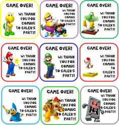 Mario Party  favor/goodie bag tags,created with Microsoft Publisher