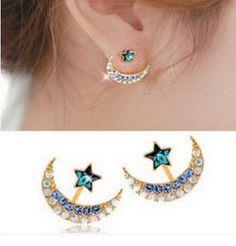 Gold Blue Rhinestone Star and Moon Earrings