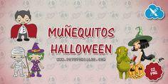 Pack de 22 muñequitos en formato PNG, especial Halloween. Vampiros, momias, brujas... Espero que os gusten estos muñequitos y muñequitas disfrazados de Halloween! ;)